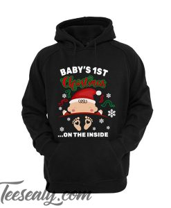 Baby's 1st Christmas on the inside pregnant Unisex adult Hoodie