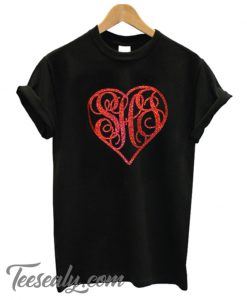 Valentine Monogram Heart Stylish T-Shirt