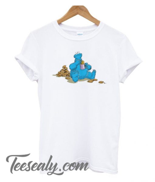 Vintage Cookie Monster Eating Cookies Stylish T-Shirt