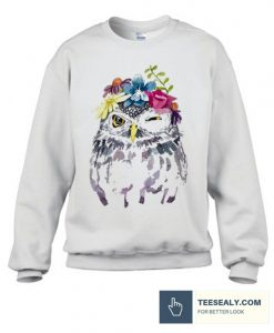 Art Owl Women Watercolor Floral Stylish Sweatshirt