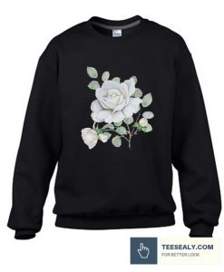 White Roses Watercolor Flowers Stylish Sweatshirt