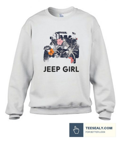 Vintage Flower Jeep Girl Stylish Sweatshirt